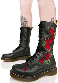 Doc martens red flower boot